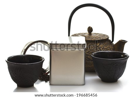 japan tea ceremony isolated on white background