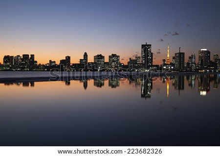 Japan Tokyo Tower night view/Sunset Tokyo Tower is reflected in the pond - stock photo
