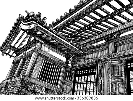Japan traditional shrine architecture. Black and white dashed style sketch, line art, drawing with pen and ink. Retro vintage picture.