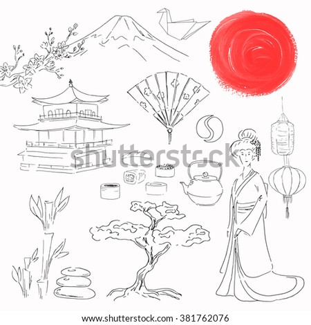 Japan travel. Journey. Hand drawn illustration isolated on white background. Japanese landmark. Sketch.  - stock photo