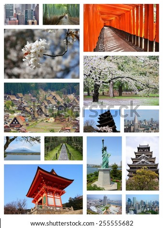 Japan travel photo collage. It includes major landmarks like Tokyo, Kyoto, Osaka, Hiroshima, Kobe and Hirosaki. - stock photo