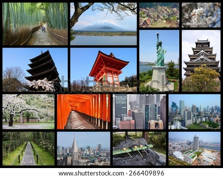 Japan travel photo collage. It includes major landmarks like Tokyo, Kyoto, Osaka, Hiroshima, Kobe, Mount Fuji and Hirosaki. - stock photo