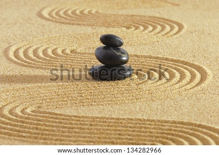Japan zen garden of meditation with stone and structure in sand
