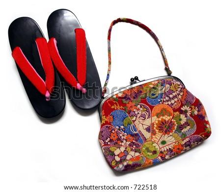 Japanese bag and geta - stock photo