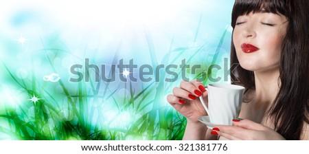 Japanese beautiful woman drinking fresh tea - stock photo