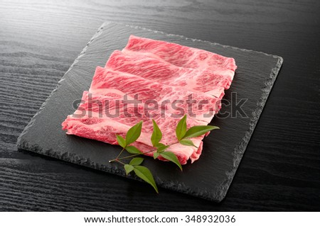 japanese beef for sukiyaki - stock photo
