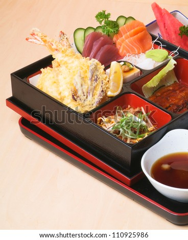 Japanese Bento Lunch set with background - stock photo