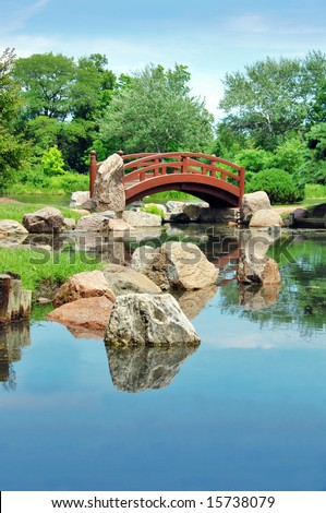 Japanese bridge, Osaka Garden located in Jackson Park, Chicago