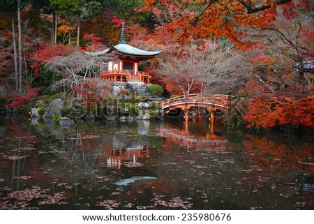 japanese building in Daigoji temple in kyoto with autumn scene