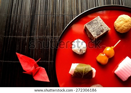 Japanese cake with origami crane.image of Japanese traditional culture. - stock photo