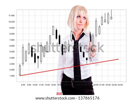 japanese candlestick analyzed by young woman over white background - stock photo