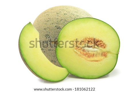 Japanese cantaloupe melon slices isolate on white background with clipping path.  - stock photo