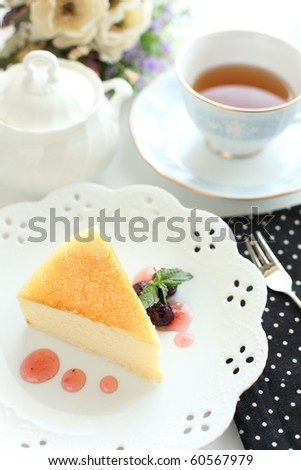 Japanese cheese tea styling with English tea and elegant dishware