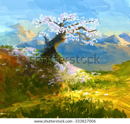 Japanese Chery Sakura fall off in Autumn Scenic Landscape Illustration under Blue sky at the Day. - stock photo