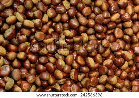 Japanese chestnuts at a market in Kyoto, Japan. - stock photo