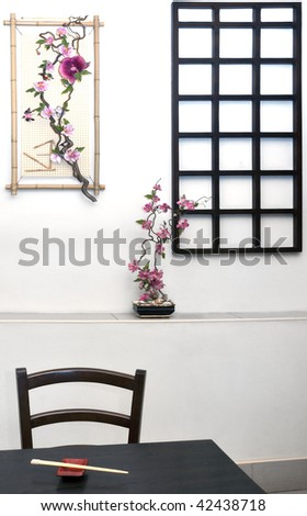 japanese, chinese restaurant interior - stock photo