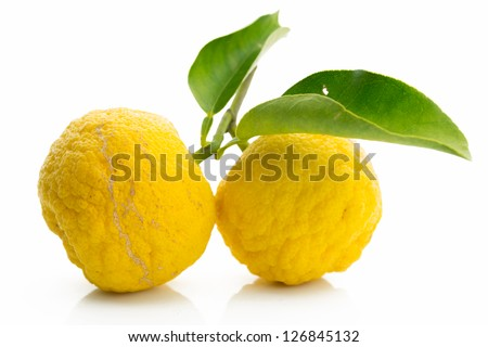 Japanese citron fruits isolated on white background - stock photo