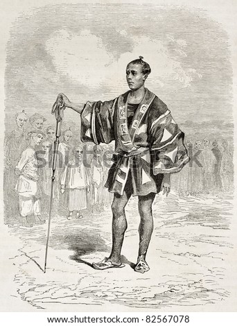 Japanese city policeman in Yedo (Tokio), old illustration. Created by Dore after Trevise, published on Le Tour du Monde, Paris, 1860 - stock photo