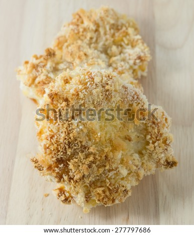 Japanese Cuisine and Food, Deep Fried Pork Cutlet or Tonkatsu on A Wooden Plated. - stock photo