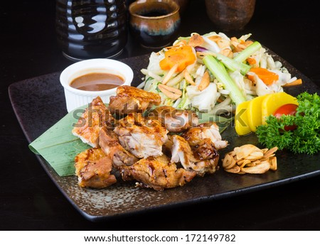 japanese cuisine. grilled chicken on background - stock photo