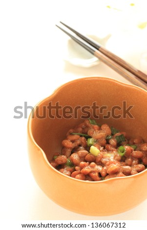 japanese cuisine, natto fermentation soy bean mixed with spring onion for healthy food image - stock photo
