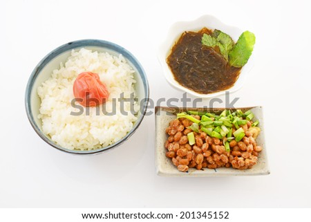Japanese cuisine rice and natto - stock photo