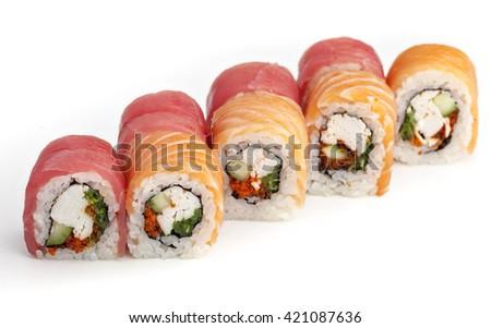 Japanese cuisine. Roll sushi set on a white background - stock photo