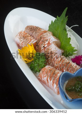 japanese cuisine. sashimi on background