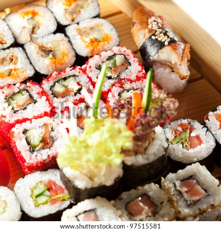 Japanese Cuisine - Sushi on a Wooden Ship