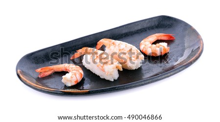 japanese cuisine. sushi shrimp on background