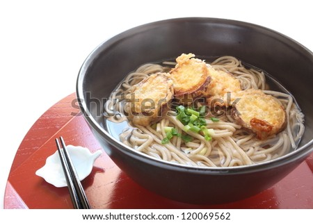 japanese cuisine, sweet potato tempura fried and soba noodle on white background with copy space - stock photo