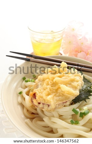 Japanese cuisine, sweet potato tempura on cold udon noodles - stock photo