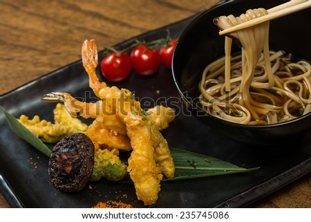 Japanese Cuisine. Tempura Shrimps with Vegetables. Shallow dof.  - stock photo
