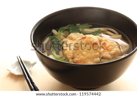 japanese cuisine, Udon noodles and tempura of Sweet potato - stock photo