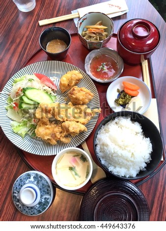 Japanese deep-fried chicken meal set - stock photo