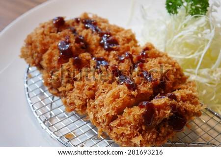 japanese deep fried pork cutlet or tonkatsu, Japanese food - stock photo