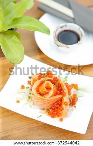 Japanese Dish fresh salmon and salmon roe served - stock photo