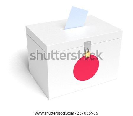 Japanese Flag Ballot Box. Isolated white background. 3D Rendering. - stock photo