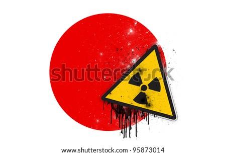 Japanese flag with symbol of radiation - stock photo