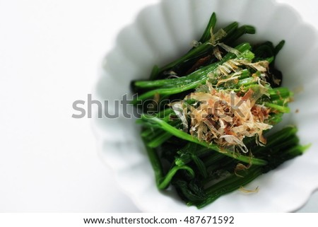 Japanese food, boiled spinach with fish flake