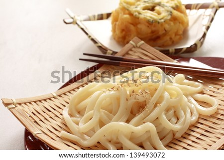japanese food, cold udon with sesame on top - stock photo