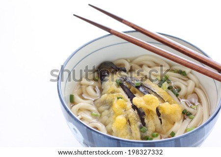 Japanese food, Eggplant Tempura on soup Udon noodles for autumn gourmet image - stock photo