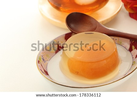 Japanese food, loquat kanten jelly and barley tea for summer image