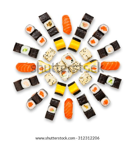 Japanese food restaurant delivery - sushi maki california roll platter set isolated at white background, above view - stock photo