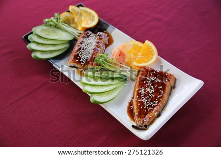 japanese food rice with eel ( unagi ) eel sushi  - stock photo