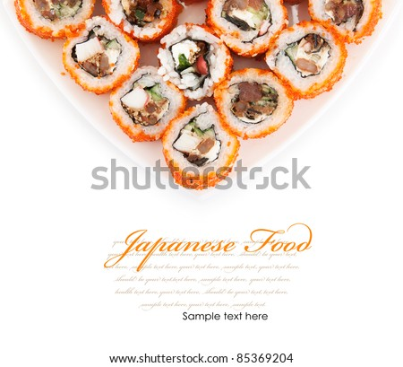 Japanese food. Rolls on a plate isolated on a white background - stock photo