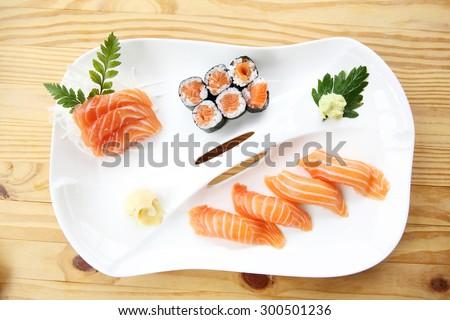 Japanese food Salmon Sushi set on wood background - stock photo