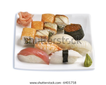 japanese food: sushi and rolls,isolated