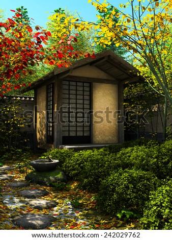 Japanese garden - stock photo