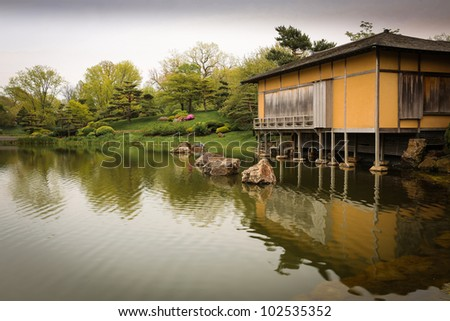 Japanese Garden House - stock photo